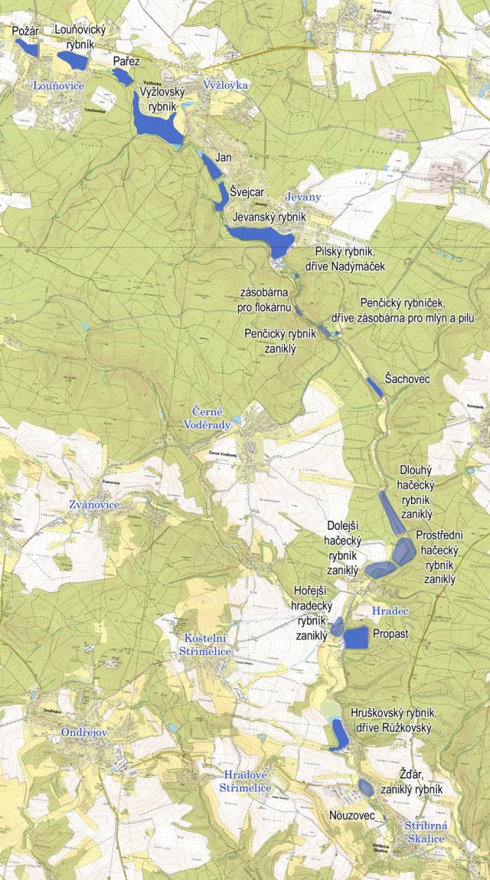 Rybníky na Jevanském potoce