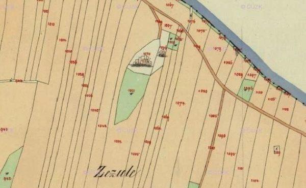 Lom Žežule na mapě Stabilního katastru z roku 1842